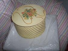 VINTAGE YELLOW-BEIGE WICKER WOOD SEWING BASKET/BOX W/LID-FLOWER DECAL