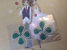 Lucky four leaf Clover Wedding Shoe Sticker Applique Rhinestone Post Free