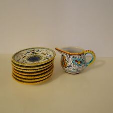 SMALL DERUTA CREAMER PITCHER with set of tiny  plates