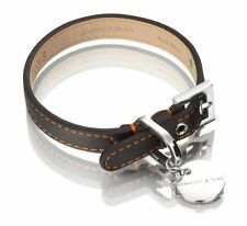Hennessy & Sons Luxury Leather Dog Collar ~ Sailor Black & Orange ~ Small ~ NIB