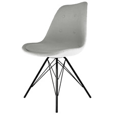Fusion Living Eiffel Inspired Light Grey Fabric Dining Chair - Various Leg Bases