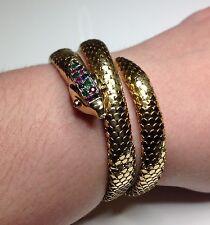 Estate Ladies Vintage 18K Ruby Emerald & Sapphire Snake Serpent Bracelet 54 Gram