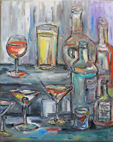 PARTY DRINKS 16x20 still life oil painting art canvas original signed CROWELL