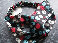 Skull print hair bandeaux satin touch band silky fabric headband hairband black