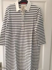 JOULES CREAM NAVY STRIPE RUGBY DRESS. COLLAR & 3/4 SLEEVE. SIZE 18. NEW WITH TAG