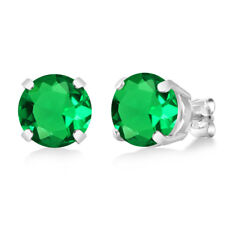3.30 Ct Round 8mm Green Simulated Emerald 925 Sterling Silver Stud Earrings