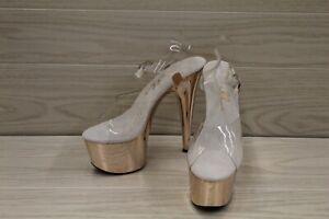 "Ellie 709-Bria 7"" Platform Heels, Women's Size 9, Clear MSRP $71.95"