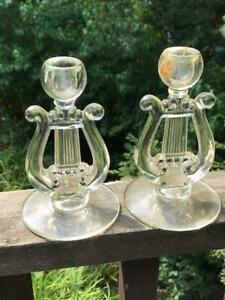 """Pair of Vintage Pressed Glass Lyre Harp Candle Holders 6"""""""