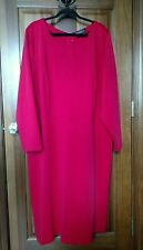 Eloquii Women's Sz 28 Red Long Sleeve Shift Dress, Bow On Back. Formal Classy