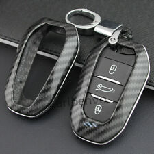 Carbon Fiber ABS Solid Car Key Keychain Cover For Peugeot 508 3008 5008 Citroen