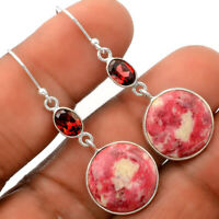 Pink Thulite - Norway and Garnet 925 Sterling Silver Earrings Jewelry SDE27994