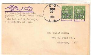 US 1930 Cover Fancy Cancel Butterflies Ed, KY