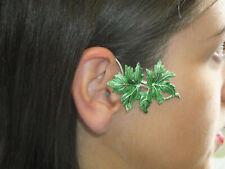 JoliKo Ohrklemme Ohr Ear cuff Hell Grün Emaille Blätter Blatt Herbst Note RECHTS