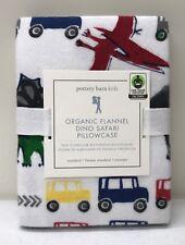 NEW Pottery Barn KIDS Organic Dino Safari & Cars STANDARD Pillowcase~FLANNEL