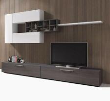 Parete attrezzata bianco grigio mobile TV soggiorno sala pranzo salotto moderno