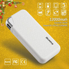 Double USB Power 12000mAh Portable LED Battery Bank Charger For Phone WIHTE