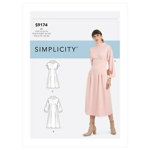 Simplicity SEWING PATTERN S9174 Misses' Funnel Neck Dress  6-14 Or 16-24
