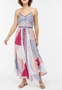 Monsoon Multi Coloured V Neck Button Evening Summer Handkerchief Maxi Dress £49