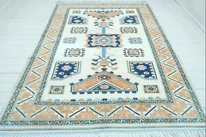 "Anatolia Bergama Kilim Rug Blue Colored Modern Carpet Designed Wool Rug 77""X104"""