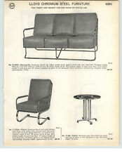 1935 PAPER AD Lloyd Chrome Chromium Steel Furniture Office Sunroom Settee Chair