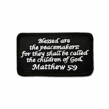 Tactical Combat Backpack Morale Patch Badge EMB Hook and Loop - Matthew 5:9 BnW