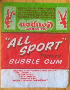 Vintage original rare A & B C 1953 All Sports wax paper bubble gum wrapper