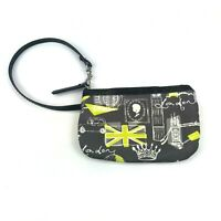 Womens London Makeup Bag Gray With Green and Black Strap