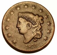 OLD US COINS 1831 LARGE CENT PENNY EARLY COPPER BEAUTY