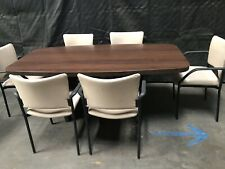 6x3 Brown Conference Table With 6 Tan Chairs