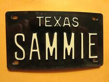 Vintage Personalized TEXAS SAMMIE Mini Bike Vanity Name License Plate Sign RARE