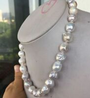 18 INCH SOUTH SEA  WHITE BAROQUE PEARL NECKLACE 13-16MM