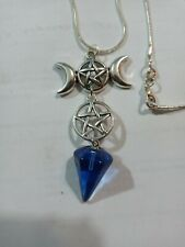 "pentagrams with blue hexagon stone, 20"" 925 sterling silver snake chain"