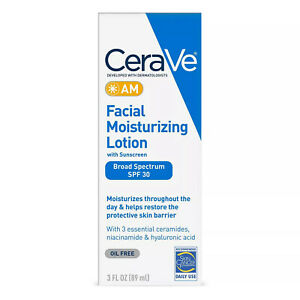 CERAVE AM Facial Moisturizing Lotion with Sunscreen SPF 30 Oil Free 3 FL OZ *NEW