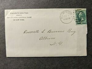 1877 ATLANTIC NATIONAL BANK of NY to ALBION Postal History Cover w/ letter