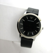 Emporio Armani AR1741 Stainless Steel Black Leather Band Mens Quartz Watch