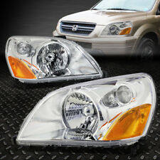 FOR 2003-2005 HONDA PILOT PAIR CHROME HOUSING AMBER CORNER BUMPER HEADLIGHT/LAMP