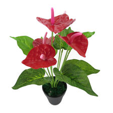 LD_ LK_ 1 Pc Artificial Plants Red Anthurium Fake Flowers Lifelike Decoration