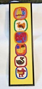 Mola Designs Birds Folk Art Hand Sewn Patches Framed Handmade San Blas Islands