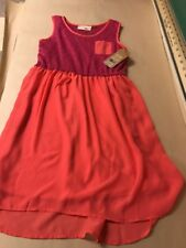 Red Camel Girls Firey Pink Hatchi/Chiffon Dress -Size Medium (8/10)-NWT