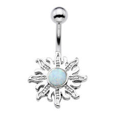 Belly Button Navel Ring Piercing Women Stainless Steel Silver Sunflower Opalite