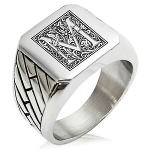 Stainless Steel Mens Royal Box Monogram Initial Large Square Biker Signet Ring