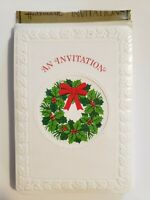Vintage Hallmark Christmas Party Invitations, 8 Cards and Envelopes, Wreath