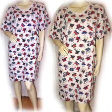 Womens T-Shirt Night Dress Nighty Sleepwear L White Multicolor Bear Bears Print