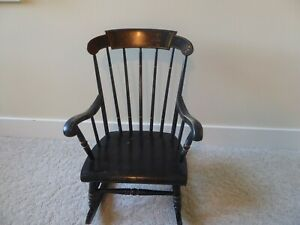 S Bent & Bros Gardner MA Black Stenciled Colonial Revival Child's Rocking Chair