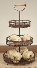 RUSTIC DECOR Primitive Three Tier Wire Basket Stand FARMHOUSE COUNTRY Home Decor