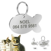 Cat Tags Engraved Personalized Fish Shape Name ID Collar Tag Stainless Steel S L
