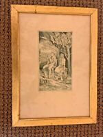 San Diego Gallery etching gilded frame signed unusual eccentric art  Gilded wood