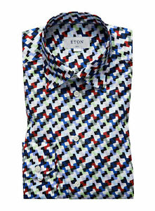 NWT ETON DRESS SHIRT geometric poplin multi luxury Sweden 38 15 slim
