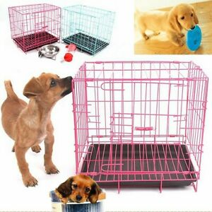 20'' Pet Kennel Cat Dog Folding Crate Playpen Wire Metal Cage Puppy House  //
