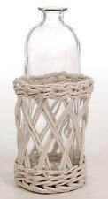 Bouteille décorative en verre & rotin vannerie déco